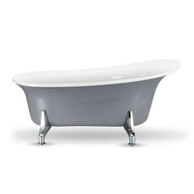 66.9 in. Acrylic Fiberglass Clawfoot Non-Whirlpool Bathtub in Grey