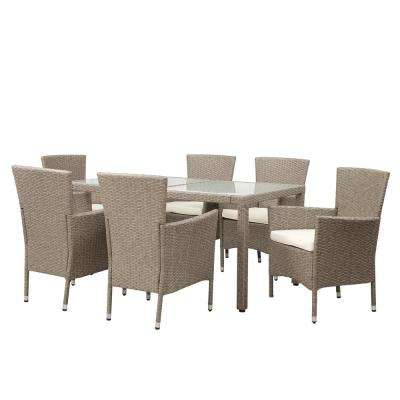 Brown 7-Piece Wicker and Wood Outdoor Dining Set with Beige Cushions
