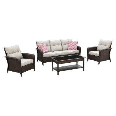 Barnes 4 Piece Wicker Outdoor Seating Set With Tan Cushions