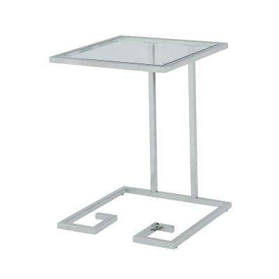 Royce Chrome Glass Top Accent Table