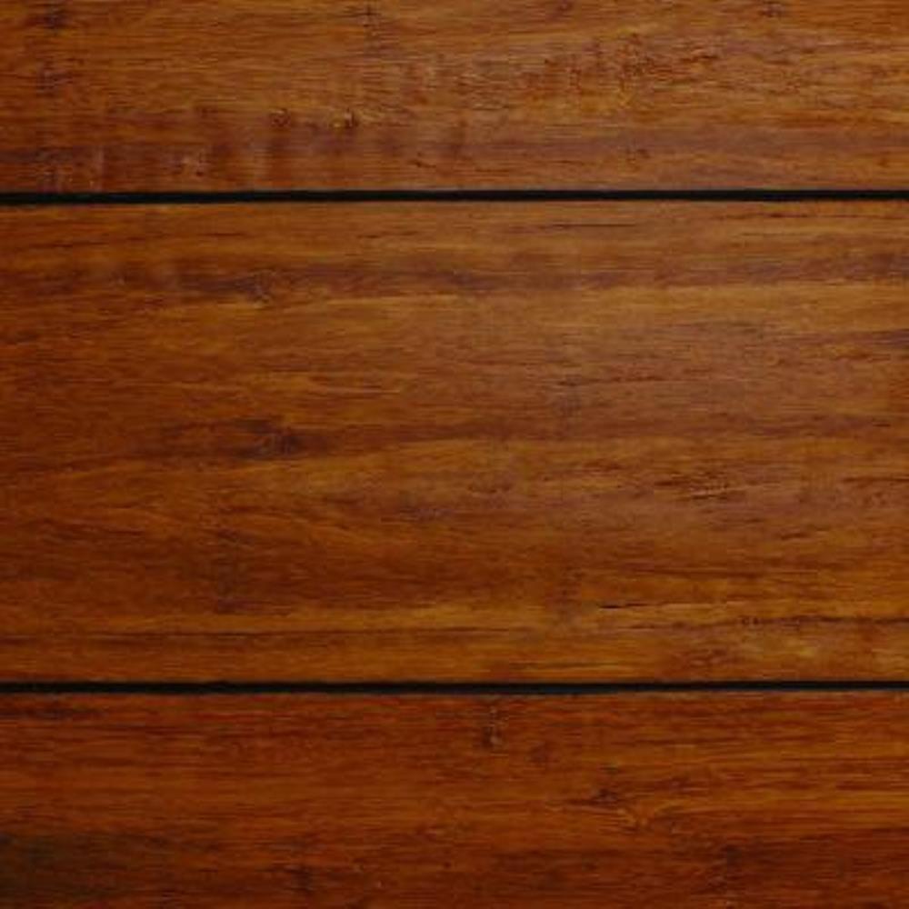 Take Home Sample - Strand Woven Distressed Dark Honey Click Lock Bamboo Flooring - 5 in. x 7 in.