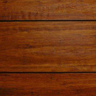 Take Home Sample - Strand Woven Distressed Dark Honey Click Lock Bamboo Flooring - 5 in. x 7 in.