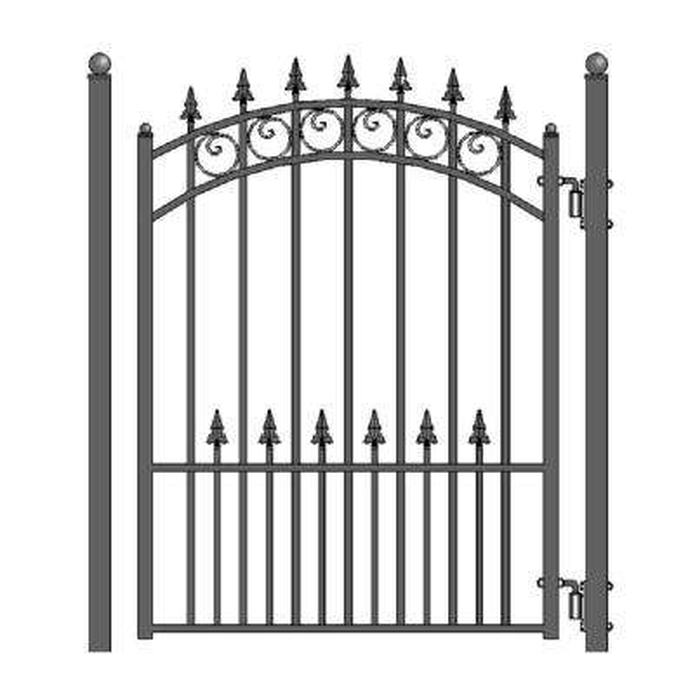 Prague Style 4 ft. x 5 ft. Black Steel Pedestrian Fence Gate