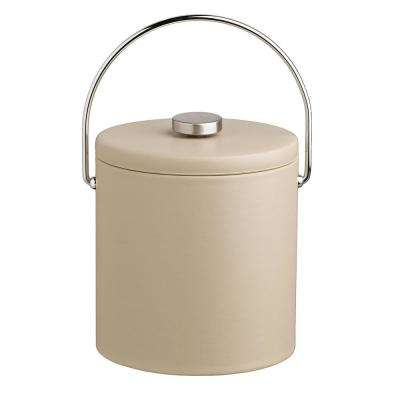 Contempo 3 Qt. Beige Ice Bucket with Bale Handle and Thick Vinyl Lid