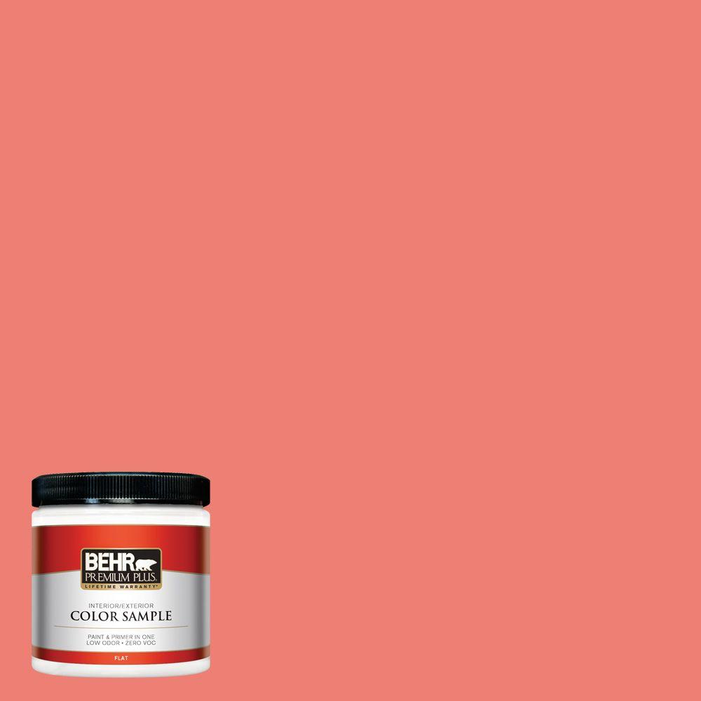 BEHR Premium Plus 8 oz. #170B-5 Youthful Coral Flat Interior/Exterior Paint and Primer in One Sample