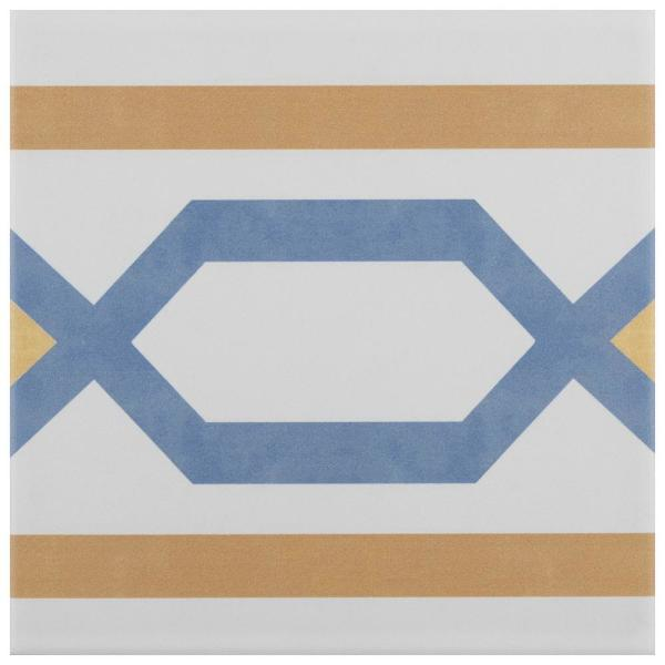 Revival Frame Encaustic 7-3/4 in. x 7-3/4 in. Ceramic Floor and Wall Tile
