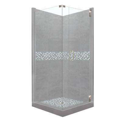 Del Mar Grand Hinged 36 in. x 36 in. x 80 in. Right-Hand Corner Shower Kit in Wet Cement and Satin Nickel Hardware