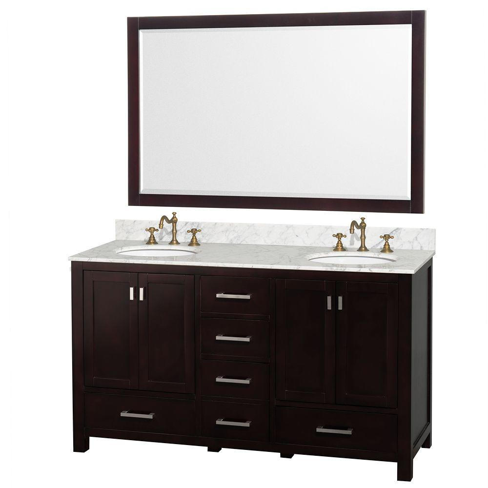 Wyndham Collection Abingdon 61 in. Double Vanity in Espresso with Marble Vanity Top in Carrara White and Mirror-DISCONTINUED