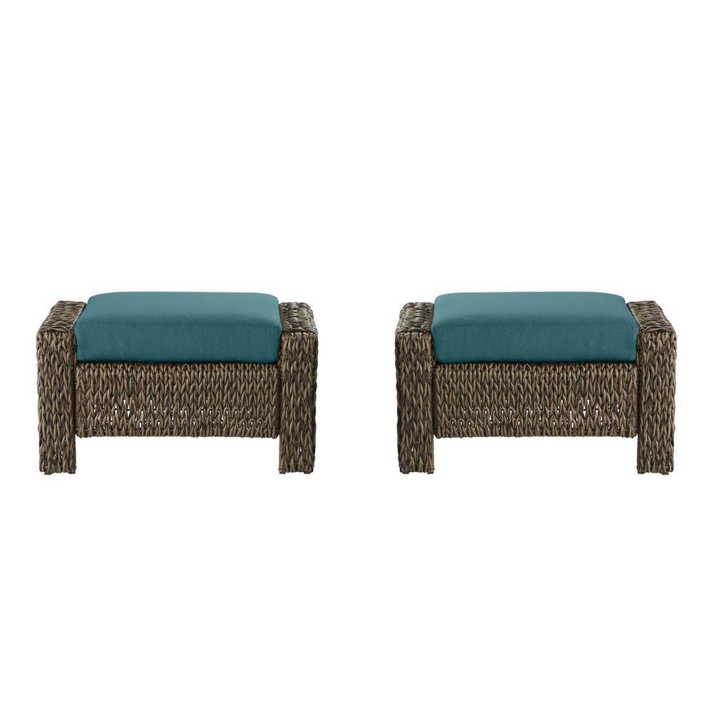 Laguna Point Brown Wicker Outdoor Patio Ottoman with CushionGuard Charleston Blue-Green Cushions (2-Pack)