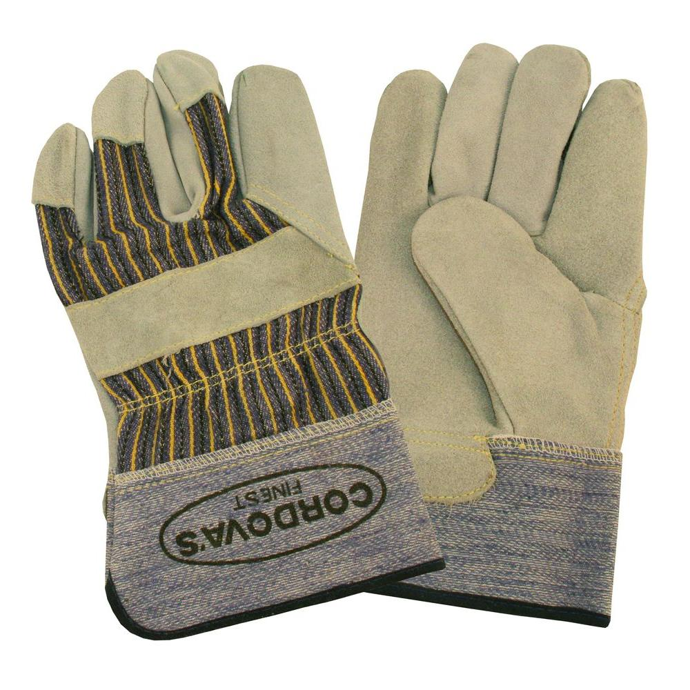 Cordova TUF-COR Heavy Side Split Leather Palm Work Glove with Rubberized Safety Cuff Size Large