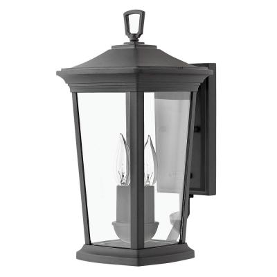 Bromley Small 2-Light Museum Black  Outdoor Wall Lantern Sconce