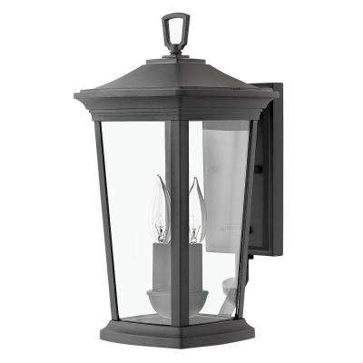 Bromley Small 2-Light Museum Black LED Wall Lantern Sconce