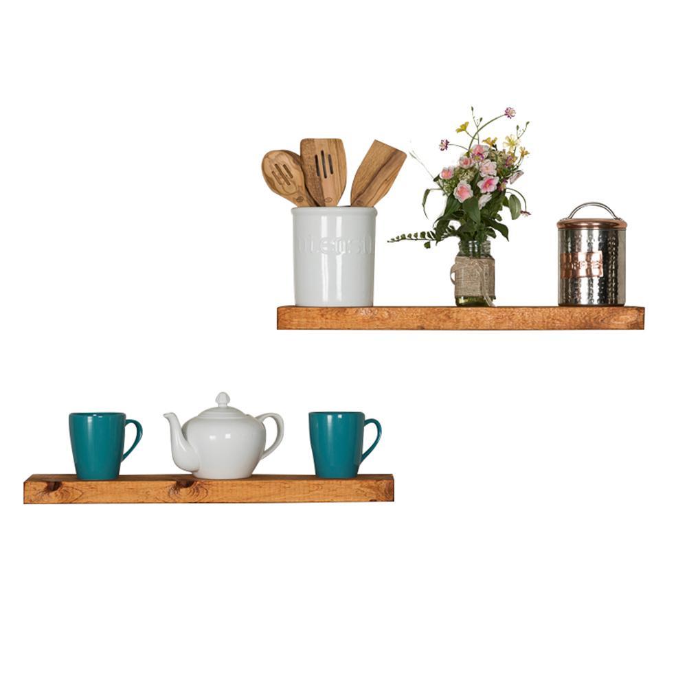 True Floating 5.5 in x 24 in x 2 in Walnut Pine Floating Decorative Wall Shelf with Brackets (Set of 2)