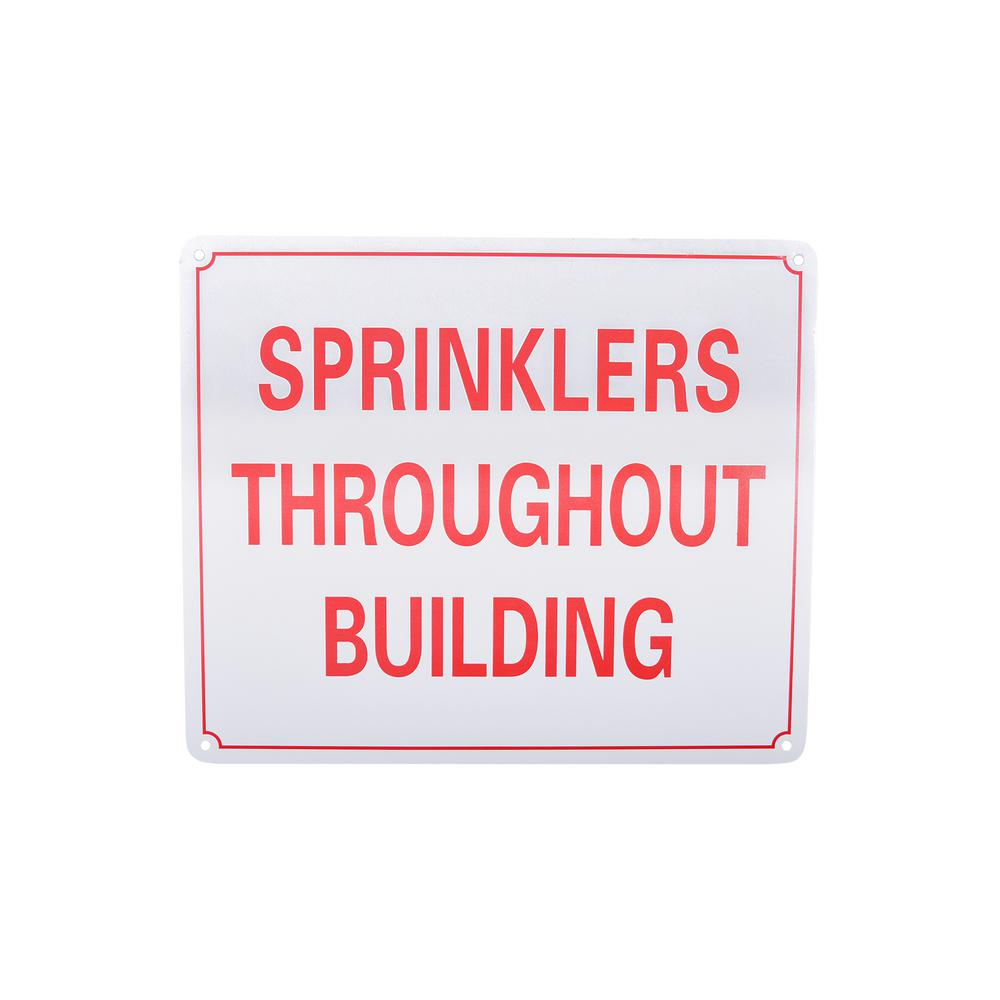ThePlumbersChoice The Plumber's Choice 10 in. x 12 in. Aluminum Fire Safety Sign Sprinklers Throughout Building, White