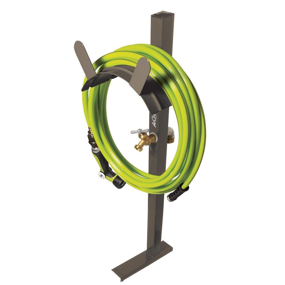 AQUA JOE 125 ft. Capacity Garden Hose Stand with Brass Faucet, Tan