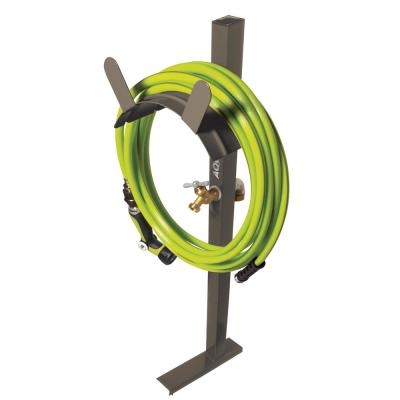 125 ft. Capacity Garden Hose Stand with Brass Faucet, Tan