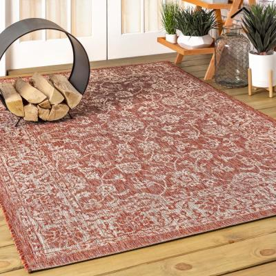 Tela Bohemian Red/Taupe 7 ft. 9 in. x 10 ft. Textured Weave Floral Indoor/Outdoor Area Rug