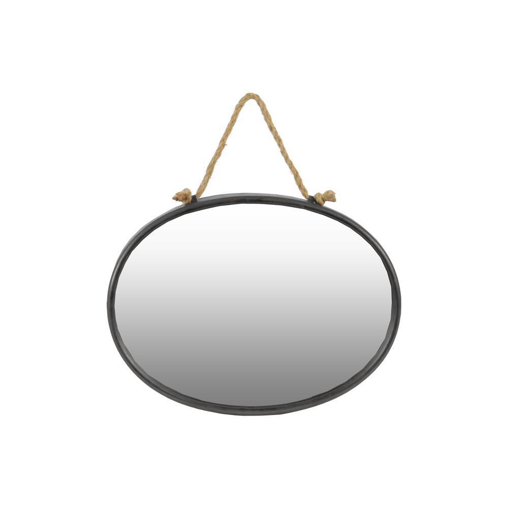 Oval Gray Tarnished Wall Mirror