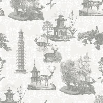 Debut Collection Pagoda Toile in Moon/Charcoal Removable and Repositionable Wallpaper