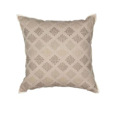Metallics Dots Taupe Geometric Hypoallergenic Polyester 18 in. x 18 in. Throw Pillow