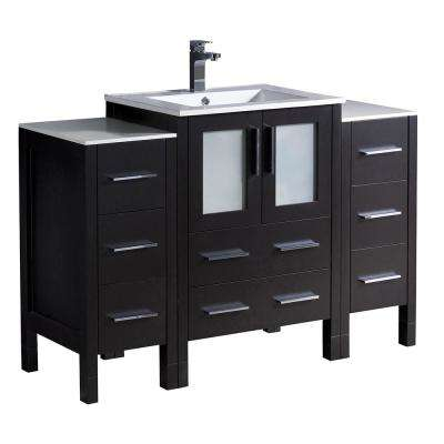 Torino 48 in. Bath Vanity in Espresso with Ceramic Vanity Top in White with White Basin and 2 Side Cabinets