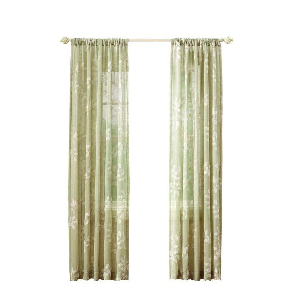 Home Decorators Collection Sheer Green Leaf Embroidery Rod Pocket Curtain 50 In W X 95 In L
