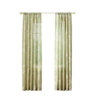 leaf embridery rod pocket curtain