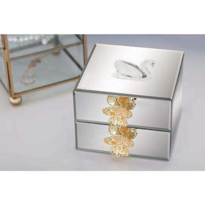 Jewelry Box with Reflective Mirror Panels and Flower Accents
