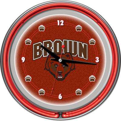 14 in. Brown University Neon Wall Clock