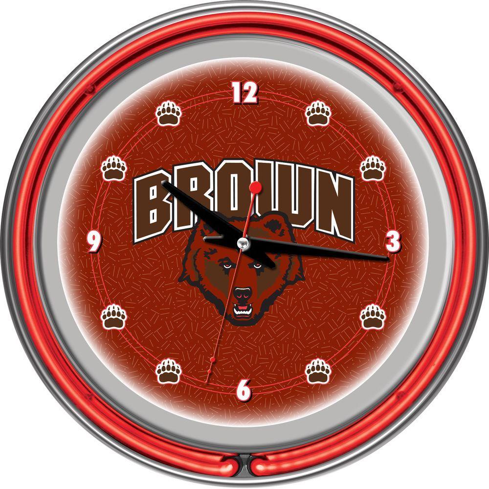 14 in. Brown University Neon Wall Clock