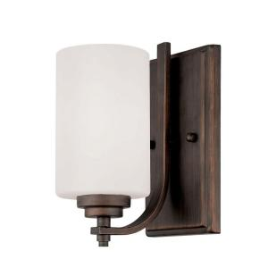 Millennium Lighting Rubbed Bronze Wall Sconce with Etched White Glass by Millennium Lighting