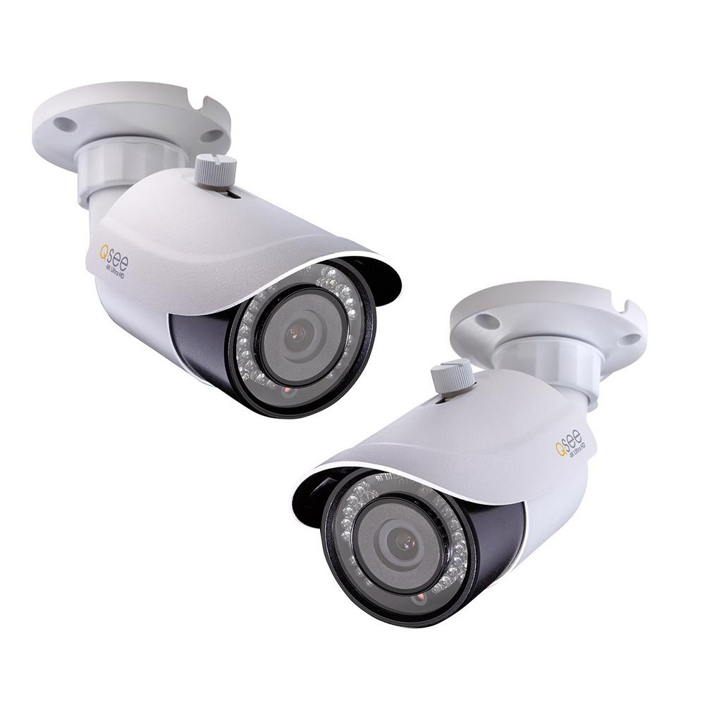 Indoor/Outdoor Bullet 4K IP Security Camera (2-Pack)