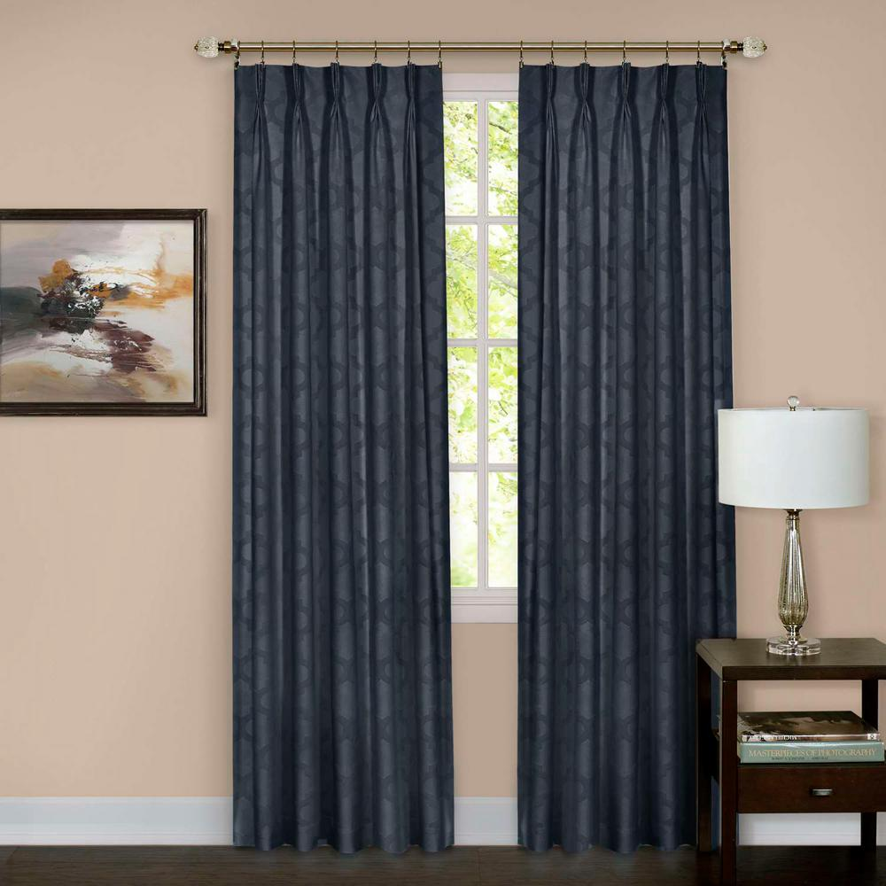 Windsor Navy Pinch Pleat Window Curtain Panel - 34 in. W