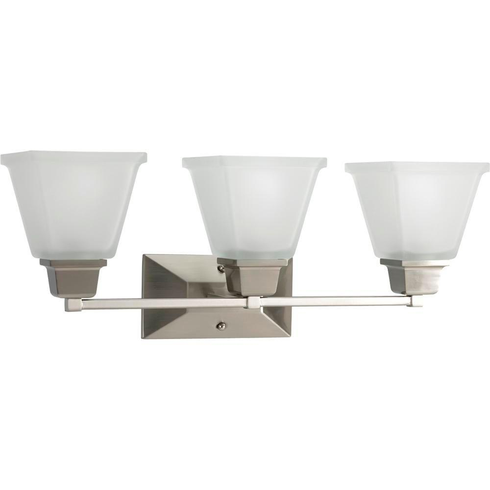 North Park 3-Light Brushed Nickel Vanity Light with Etched Glass Shades