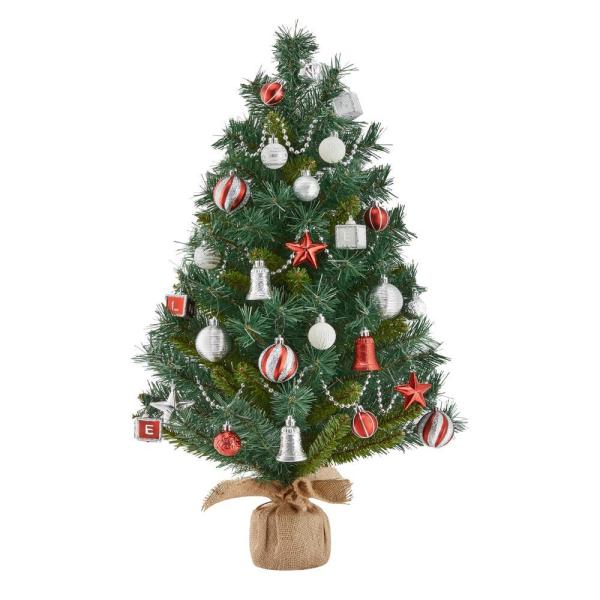 32 in. PVC Burlap Tree with Ornament Kit (34-Pieces)
