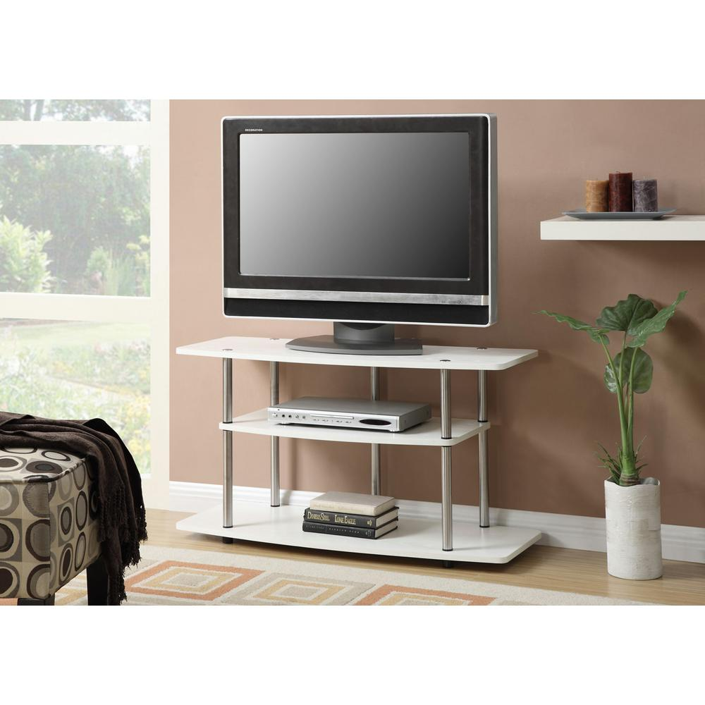 Convenience Concepts Designs2Go White Wood Grain Entertainment Center