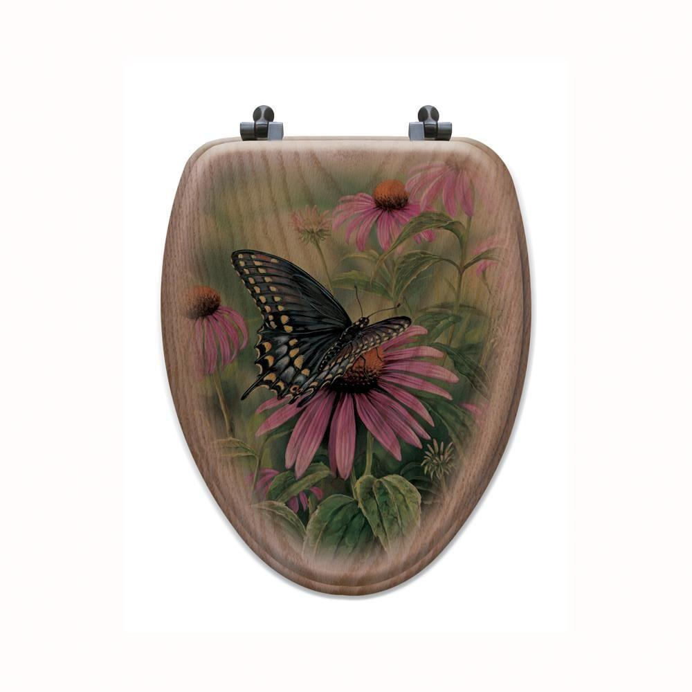 Black Swallowtail Elongated Closed Front Wood Toilet Seat