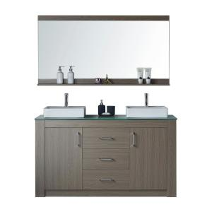 Virtu USA Tavian 60 inch W Double Vanity in Grey Oak with Glass Vanity Top in Aqua with White Basin with Faucet and... by Virtu USA