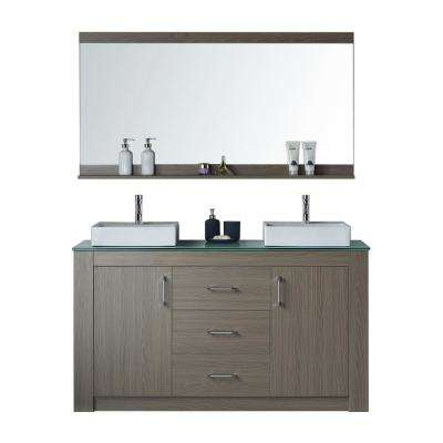 Tavian 60 in. W x 22 in. D Double Vanity in Grey Oak with Glass Vanity Top in White with White Basin with Faucet