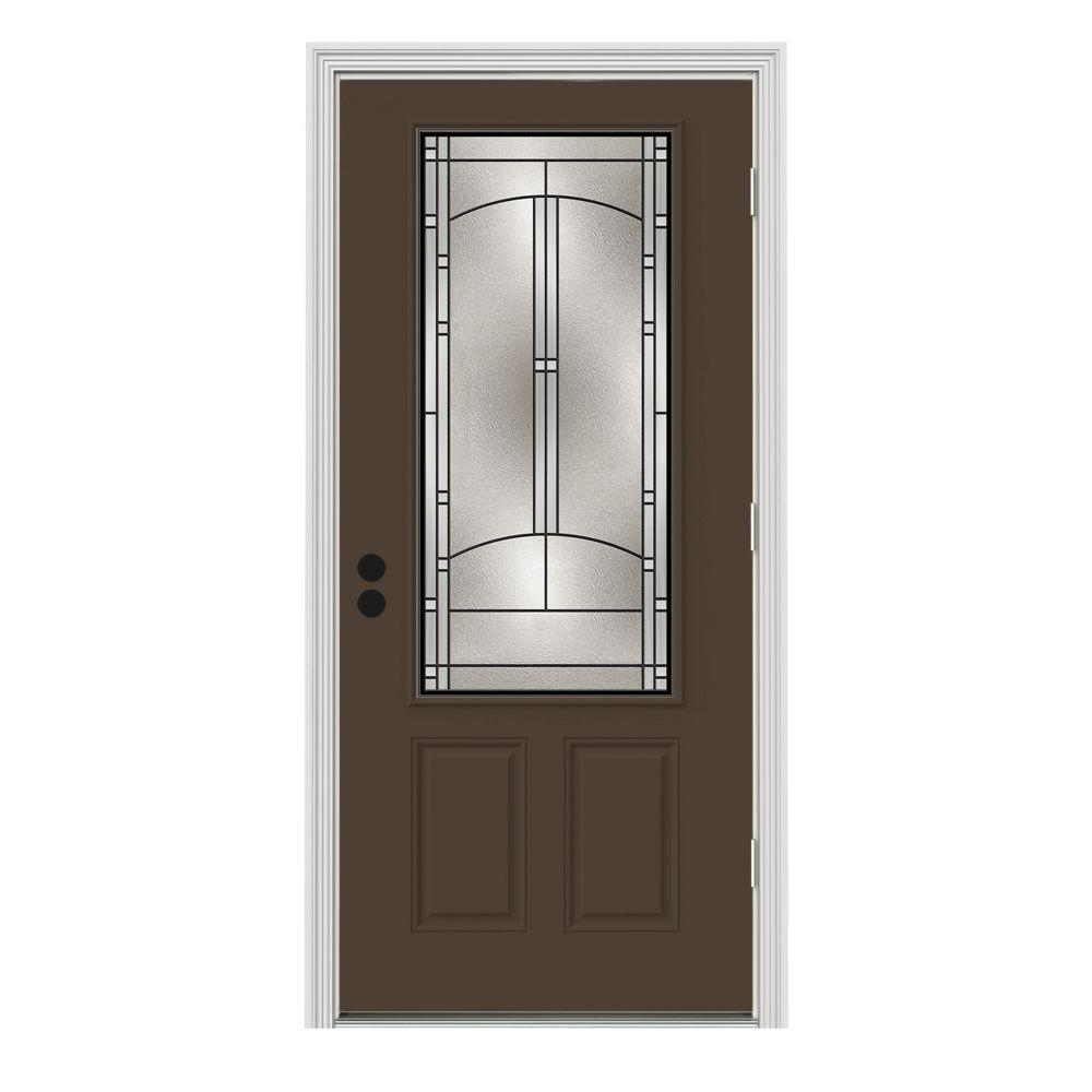 32 in. x 80 in. 3/4 Lite Idlewild Dark Chocolate Painted