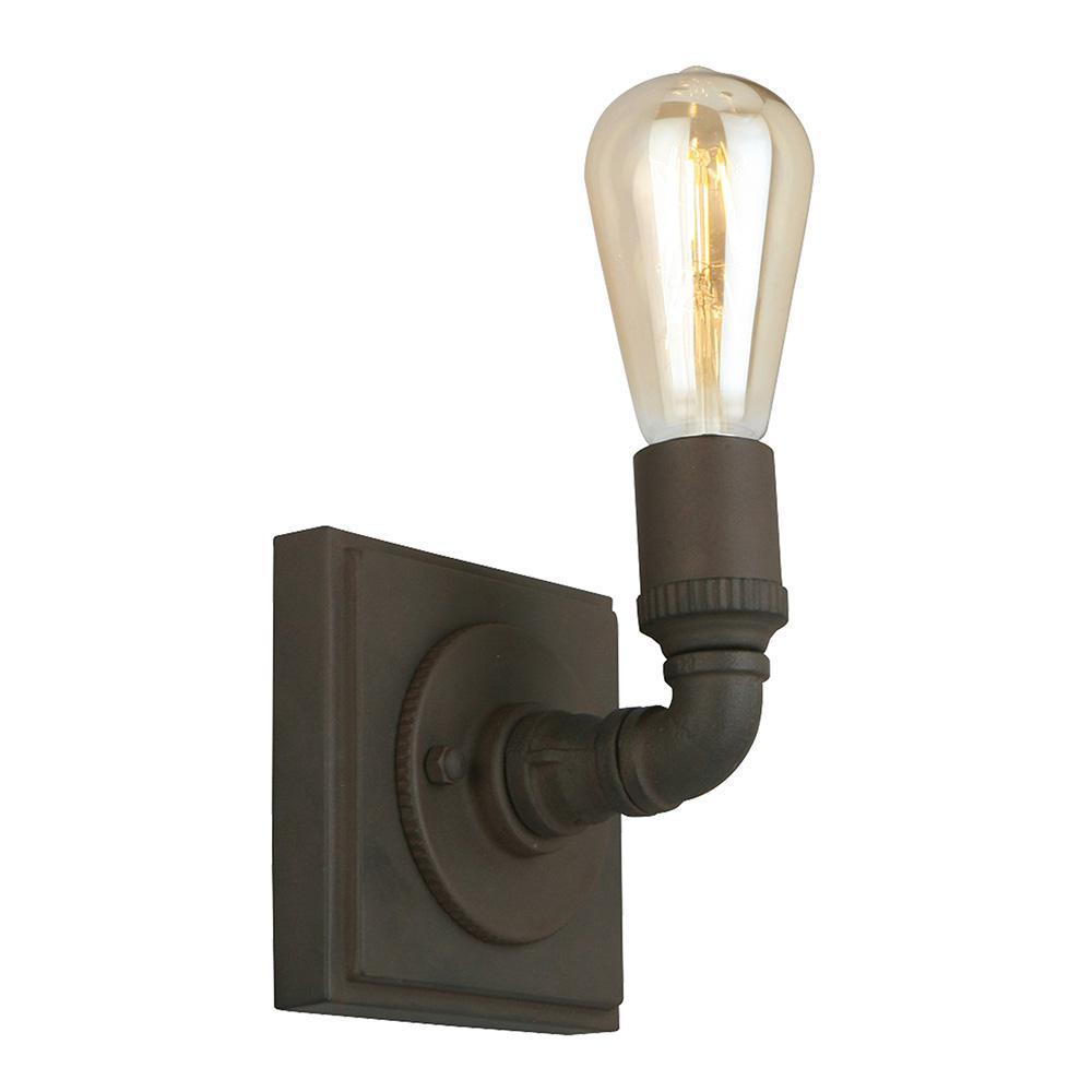 Wymer 5.63 in H x 4.61 in W 1-Light Matte Bronze Industrial Wall Light