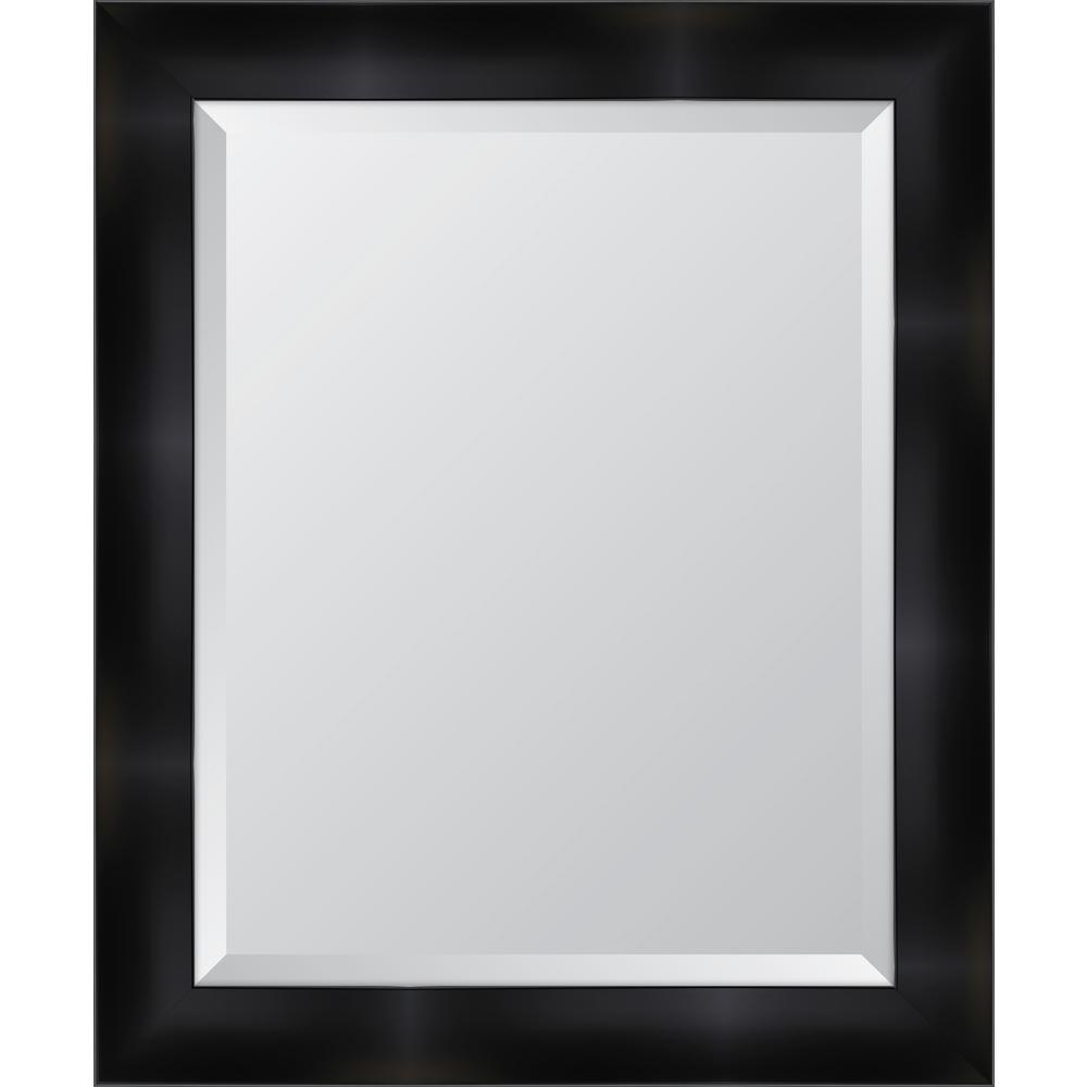 "29 in. x 35 in. Framed 3 1/4"" Matte Black Resin Frame Mirror"