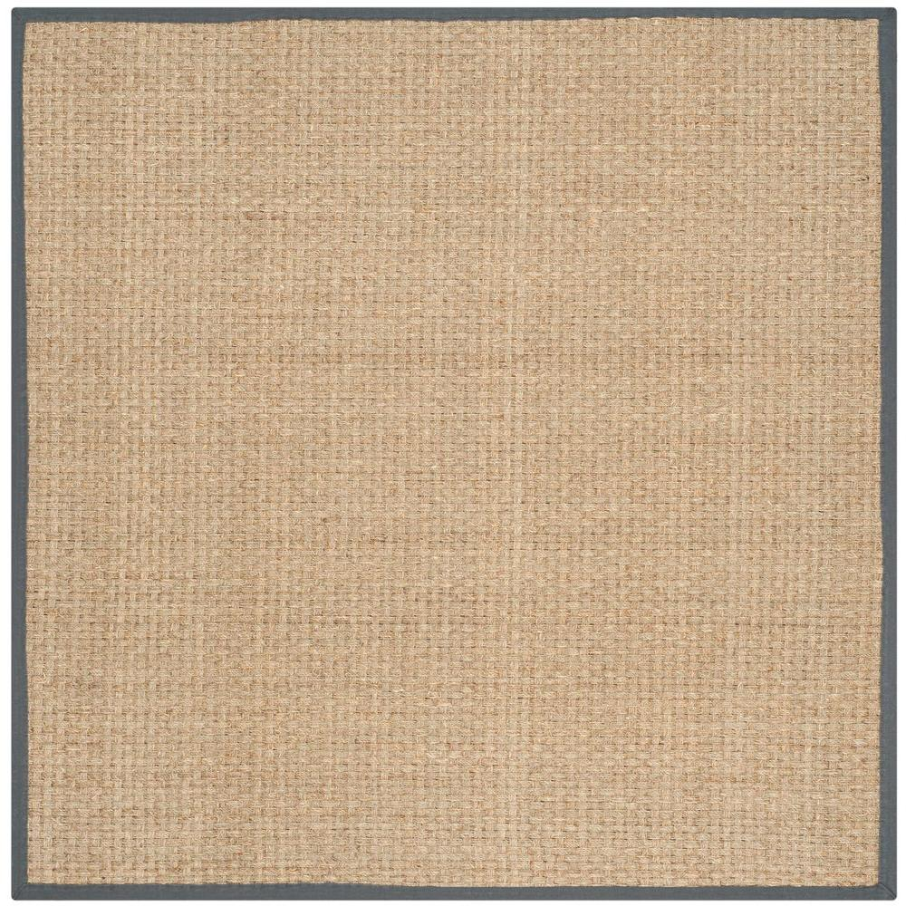 Safavieh natural fiber beige dark grey 6 ft x 6 ft for Grey and tan rug