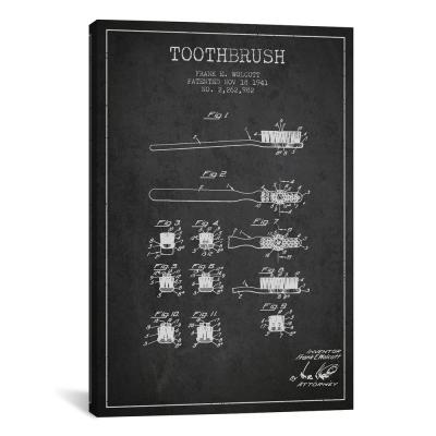 """""""Toothbrush Charcoal Patent Blueprint"""" by Aged Pixel Canvas Wall Art"""