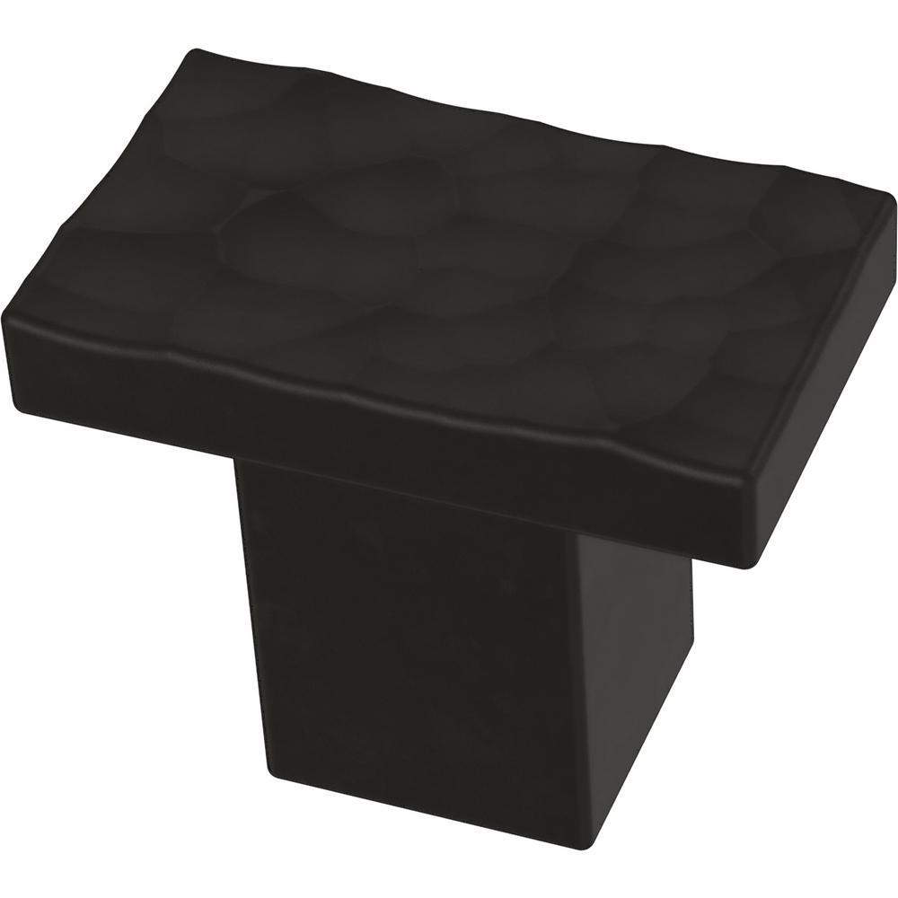 Modern Hammered 1-1/4 in. (32mm) Matte Black Cabinet Knob