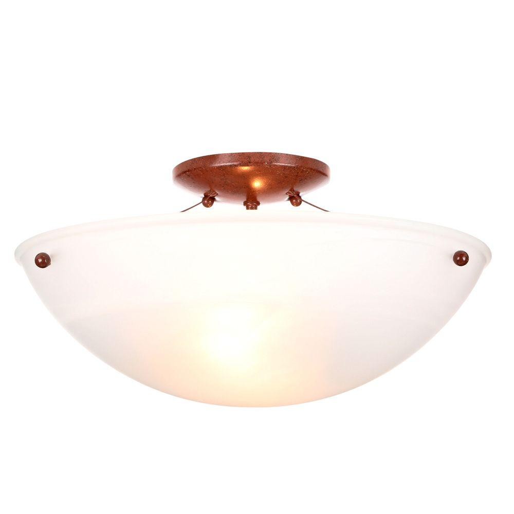 15 in. 2-Light Nutmeg Semi-Flushmount with Faux Alabaster Glass Shade