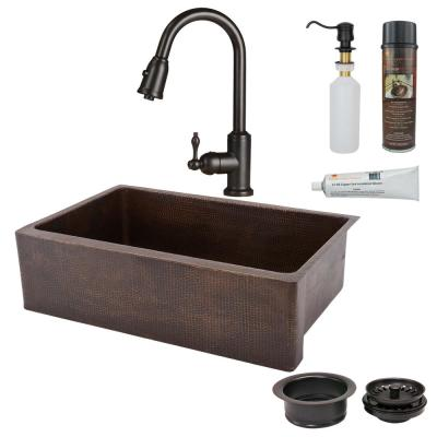 All-in-One Undermount Hammered Copper 33 in. 0-Hole Single Bowl Kitchen Sink in Oil Rubbed Bronze