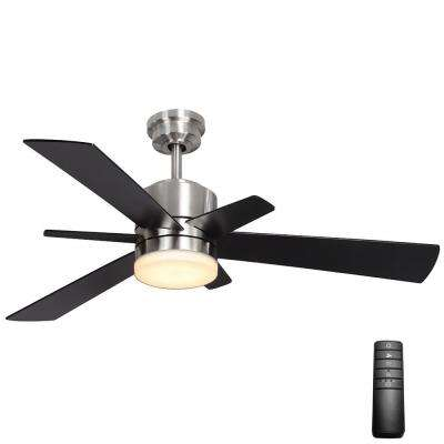 Hexton 52 in. LED Indoor Brushed Nickel Ceiling Fan with Light Kit and Remote Control
