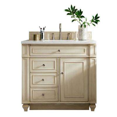 Bristol 36 in. W Single Vanity in Vintage Vanilla with Solid Surface Vanity Top in Arctic Fall with White Basin