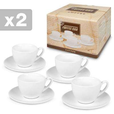 Konitz 4-Piece White Coffee Bar #8A Porcelain Coffee Cup and Saucer Sets Gift Boxed